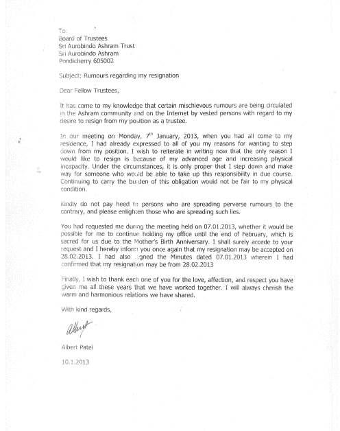 Albertda Resignation Letter