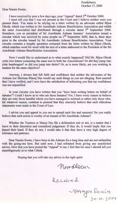Nirodbaran's letter to Narain Swain Reg. Bijon Ghosh