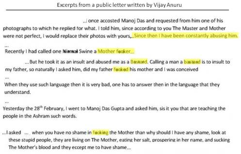 Excerpts from Vijay Anuru's letter