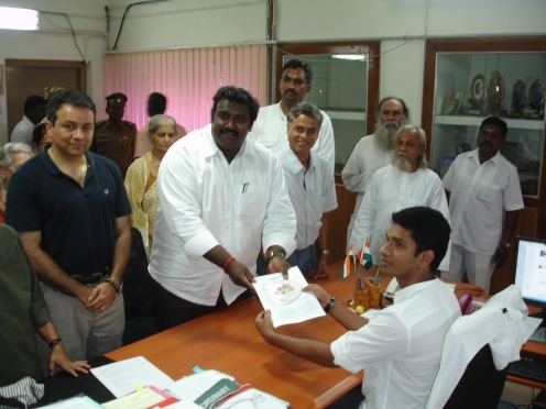 Ashok Anand filing complaint to Collector