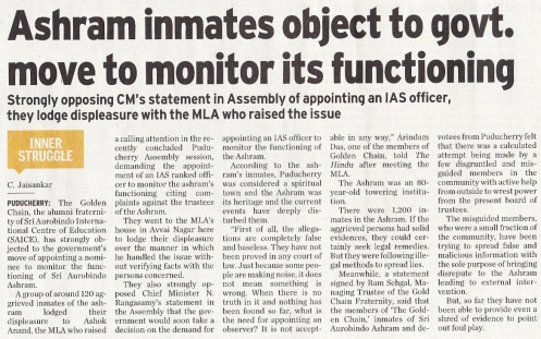 Ashram inmates object to govt. move to monitor its functioning, The Hindu Sat 5 Aug 2013 p 3