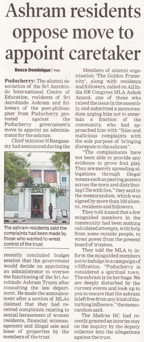 Ashram residents oppose move to appoint caretaker,The Times of India, Tue 6 Aug 2013 p 1