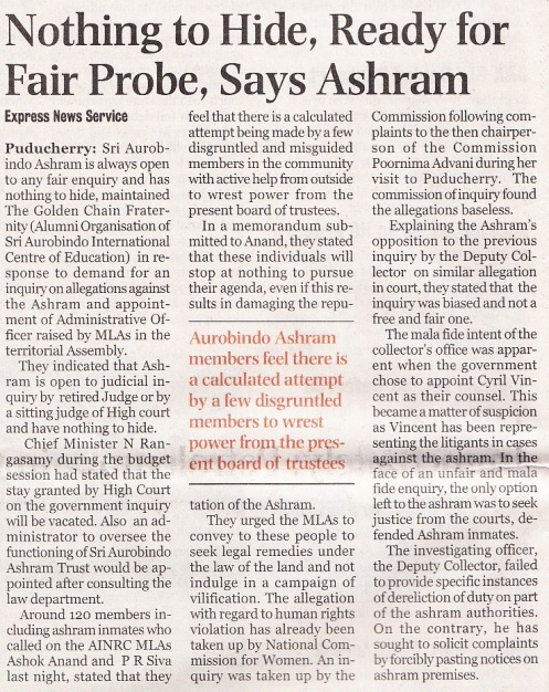 Nothing to hide, ready for fair probe, says ashram, Indian Express, Tue 6 Aug 2013, p 2