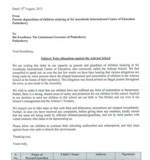 Scanned copy of the signed letter from Parents to the Governor of Pondicherry_Page_1