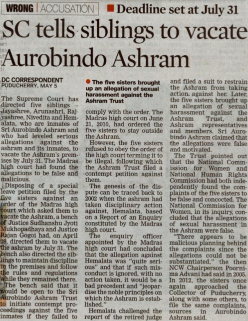 Deccan Chronicle-SC tells siblings to vacate Aurobindo Ashram