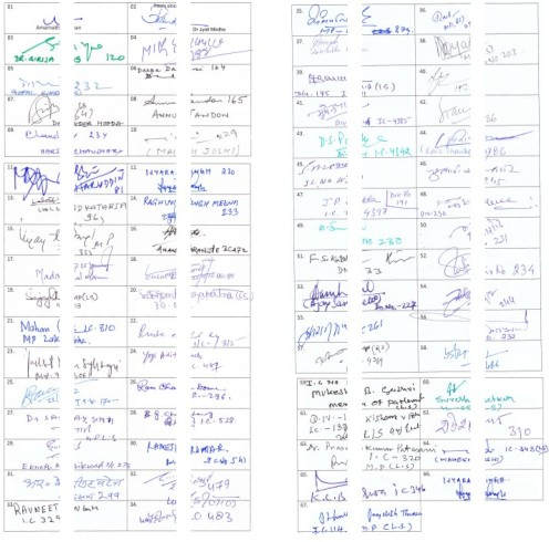 Signatures of 67 MPs