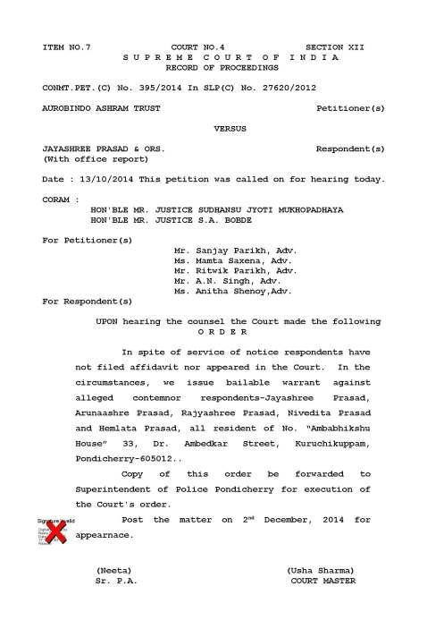 SAAT  vs  Jayashree prasad-Order dt 13-10-2014