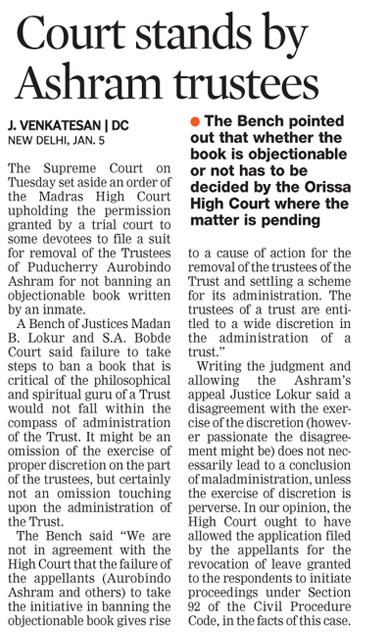 Court stands by Ashram Trustees_Deccan Chronicle_2016_01_06